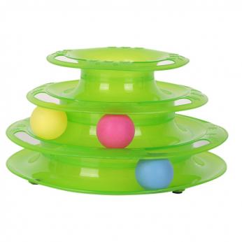 Trijų aukštų bokštas su trimis skirtingų spalvų kamuoliukais