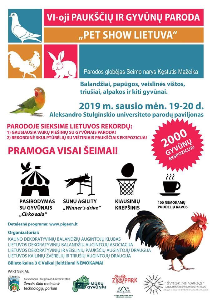 Parodoje bus pristatoma daugiau negu 2000 gyvūnų. Dalyvauja virš 100 dalyvių iš įvairių Europos šalių. Eksponuojami teisėjų įvertinti balandžiai, papūgos, įvairūs paukščiai, vištos sodyboms, veisliniai triušiai ir kita gyvoji gamta
