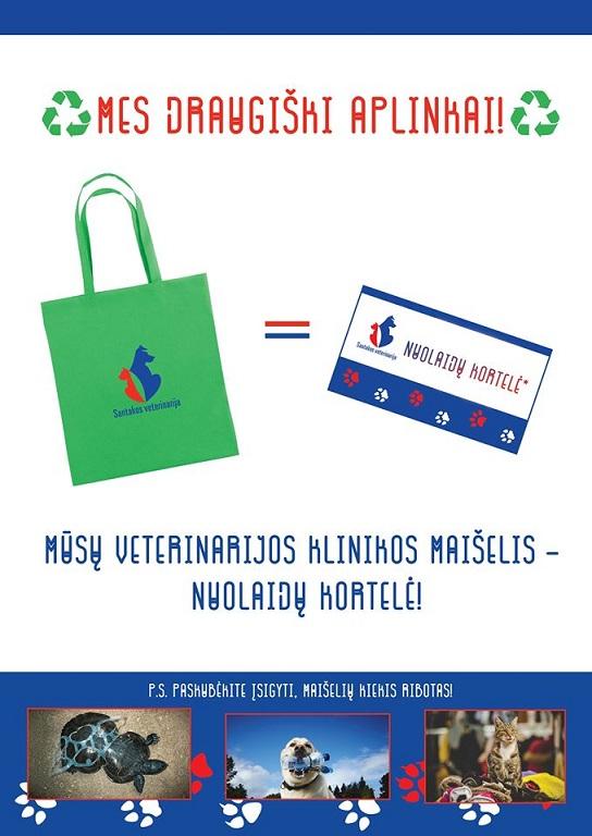 Santakos veterinarijos klinikos maišelis - nuolaidų kortelė!