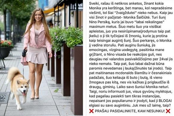 Monika Šalčiūtė kaltinama šuns kankinimu, socialinių tinklų žvaigždė tai vadina šmeižtu