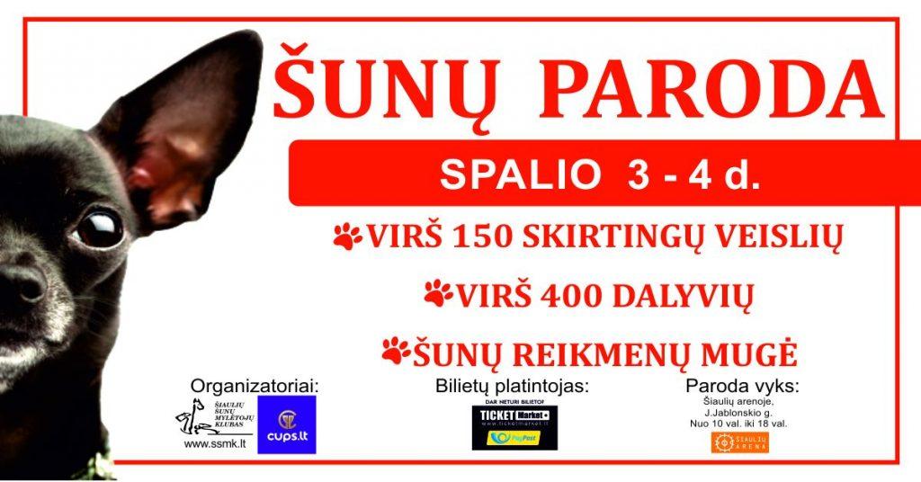 Visus augintinių mylėtojus kviečiame į Šiaulių areną, kur spalio 3 - 4 dienomis vyks visų veislių šunų paroda! Kasmetinė šunų paroda, kurioje dalyvauja daugiau nei 150 skirtingų šunų veislių, virš 400 dalyvių visus augitinių mylėtojus kviečia apsilankyti Šiaulių arenoje! Dalyviai iš Lietuvos, Latvijos, Estijos, Suomijos, Lenkijos. Parodos metu bus galima įsigyti šunų priežiūros reikmenų, šunų maisto, skanėstų. Abi dienas apie 16 - 17 val. bus renkamas gražiausias parodos šuo!